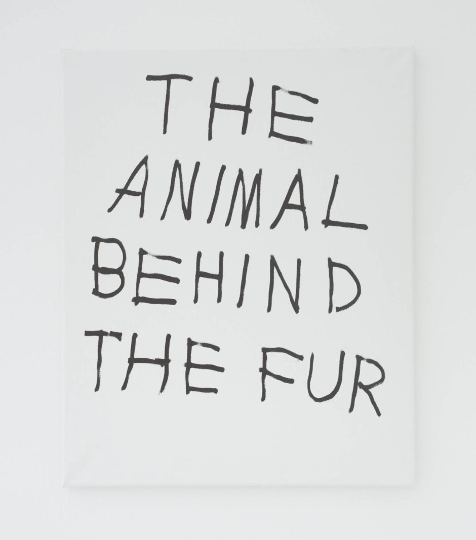 """THE ANIMAL BEHIND THE FUR"", 2016, ink on canvas, 20 × 16 in, 50.8 × 40.6 cm"