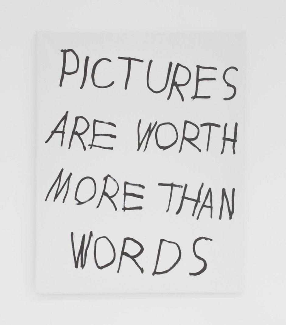 """PICTURES ARE WORTH MORE THAN WORDS"", 2016, ink on canvas, 20 × 16 in, 50.8 × 40.6 cm"