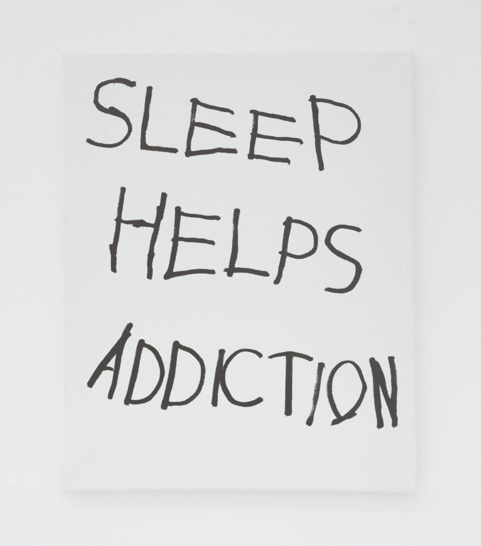 """SLEEP HELPS ADDICTION"", 2016, ink on canvas, 20 x 16 inches, 50.8 x 40.6 cm"