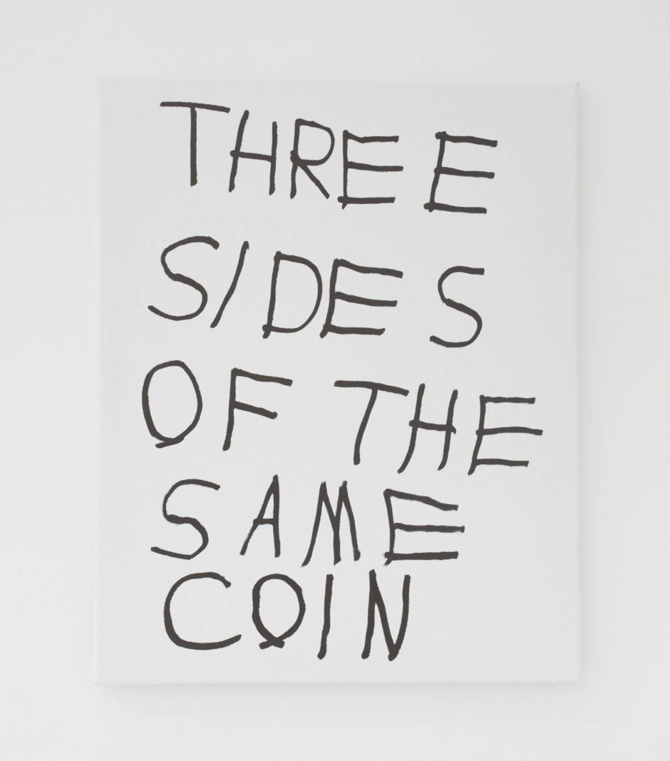 """THREE SIDES OF THE SAME COIN"", 2016, ink on canvas, 20 × 16 in, 50.8 × 40.6 cm"