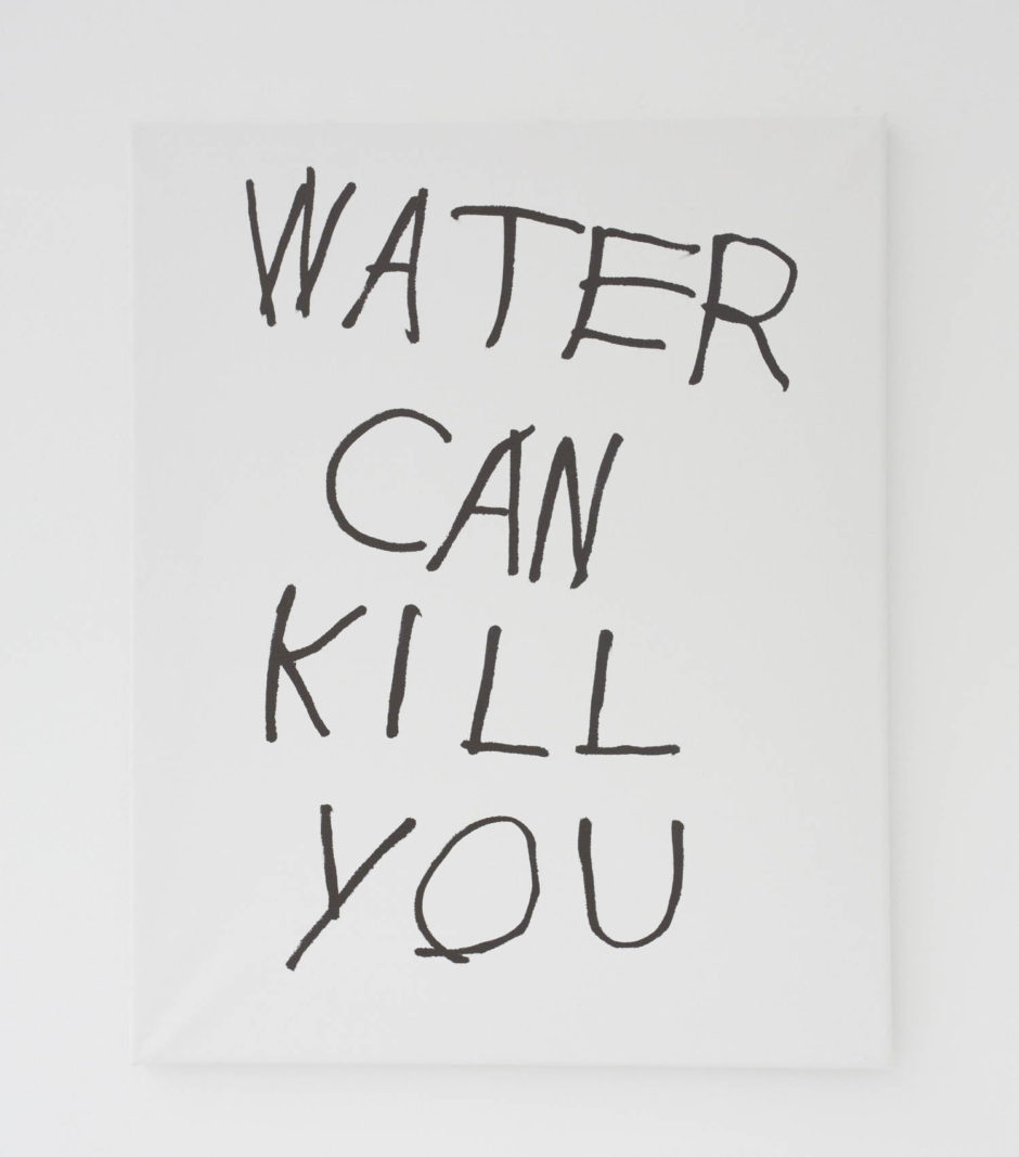 """WATER CAN KILL YOU"", 2016, ink on canvas, 20 × 16 in, 50.8 × 40.6 cm"