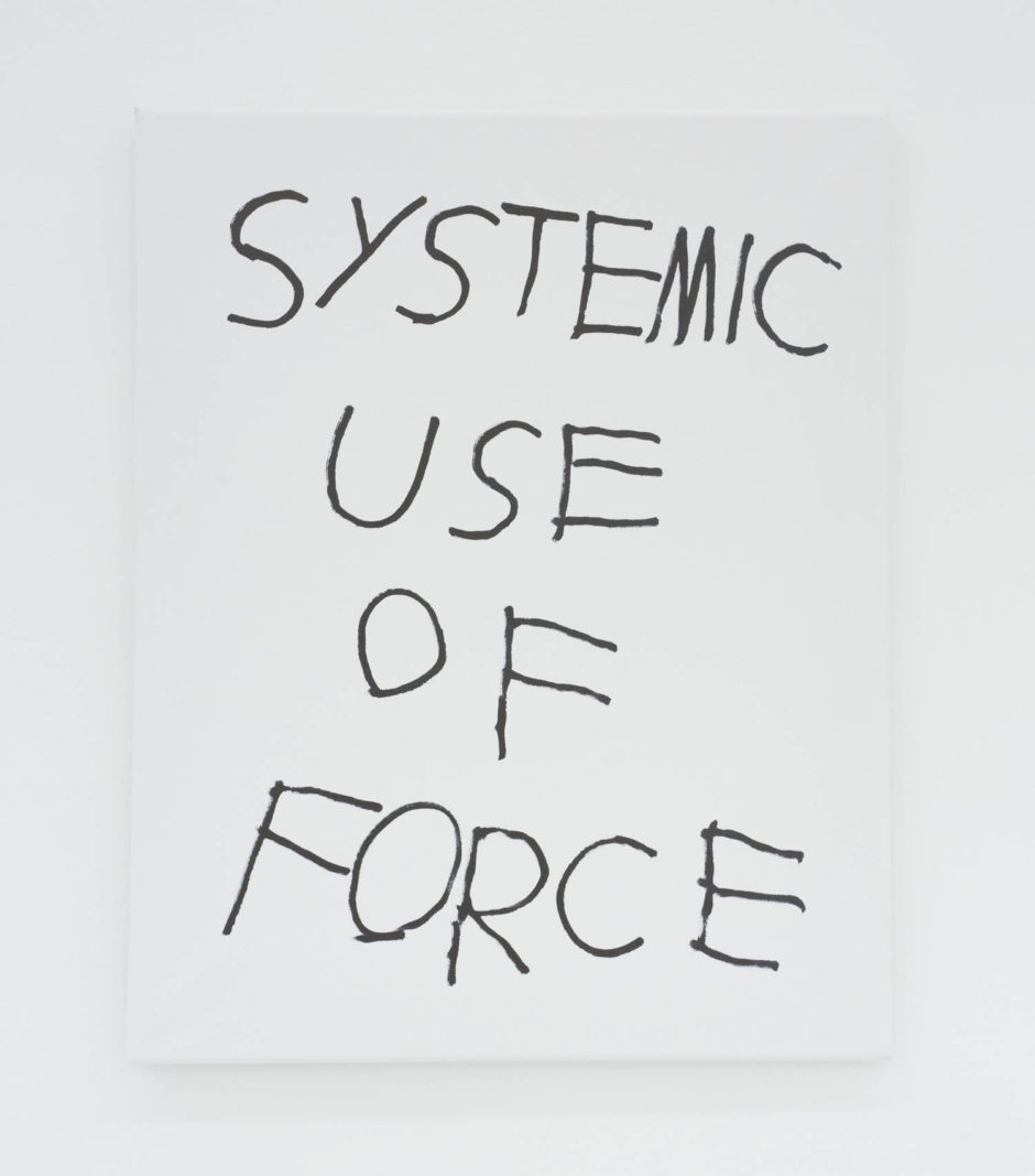 """SYSTEMIC USE OF FORCE"", 2016, ink on canvas, 20 × 16 in, 50.8 × 40.6 cm"