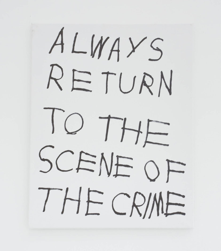 """ALWAYS RETURN TO THE SCENE OF THE CRIME"", 2016, ink on canvas, 20 × 16 in, 50.8 × 40.6 cm"