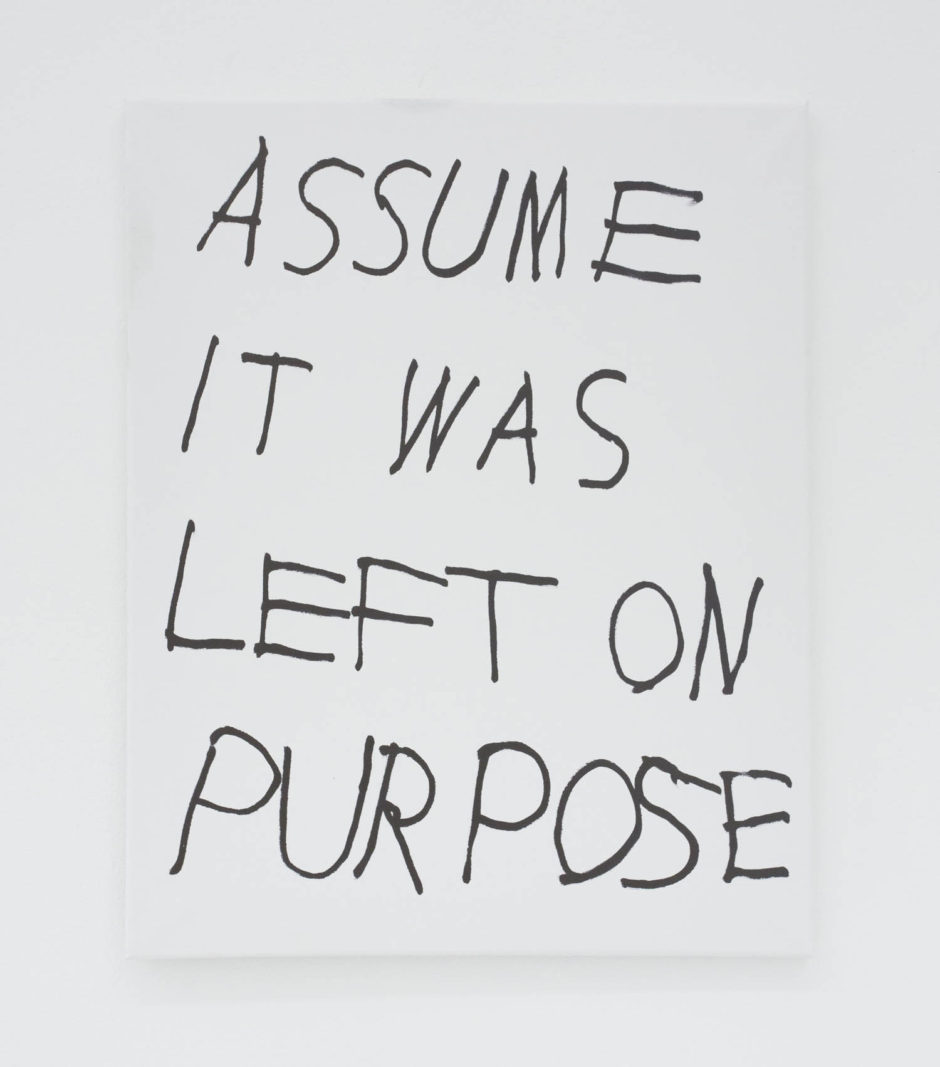 """ASSUME IT WAS LEFT ON PURPOSE"", 2016, ink on canvas, 20 × 16 in, 50.8 × 40.6 cm"