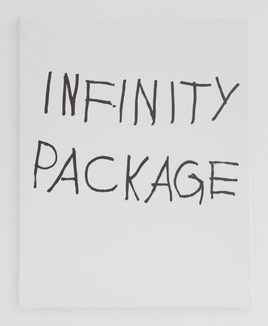 """INFINITY PACKAGE"", 2016, ink on canvas, 20 × 16 in, 50.8 × 40.6 cm"