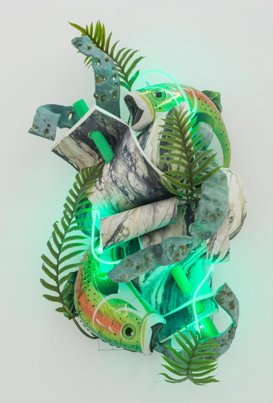 """Pisces"", 2016, painted steel, printed E.V.A. foam, plastic, faux leaves, neon, resin with bronze patina, resin and fiberglass preserved mylar, 76 x 38 x 24 inches, 198 x 96.5 x 61 cm"