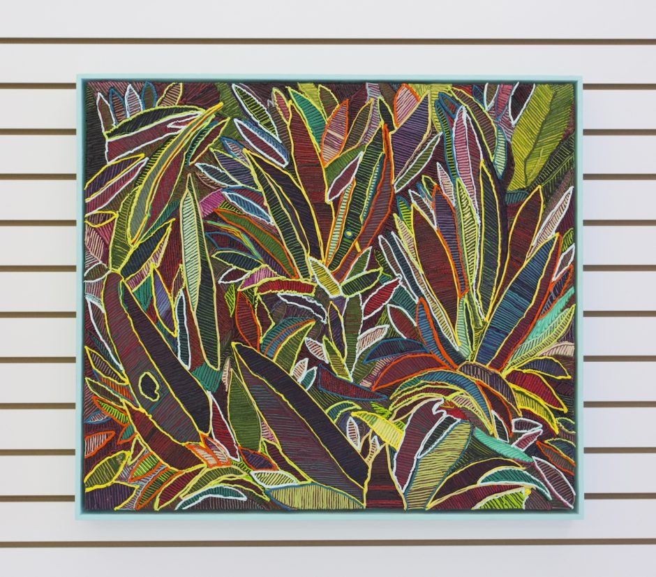 """Oyster Plant"", 2016, Oil on canvas over board, 28.25 x 32.25 inches / 71.8 x 81.9 cm"