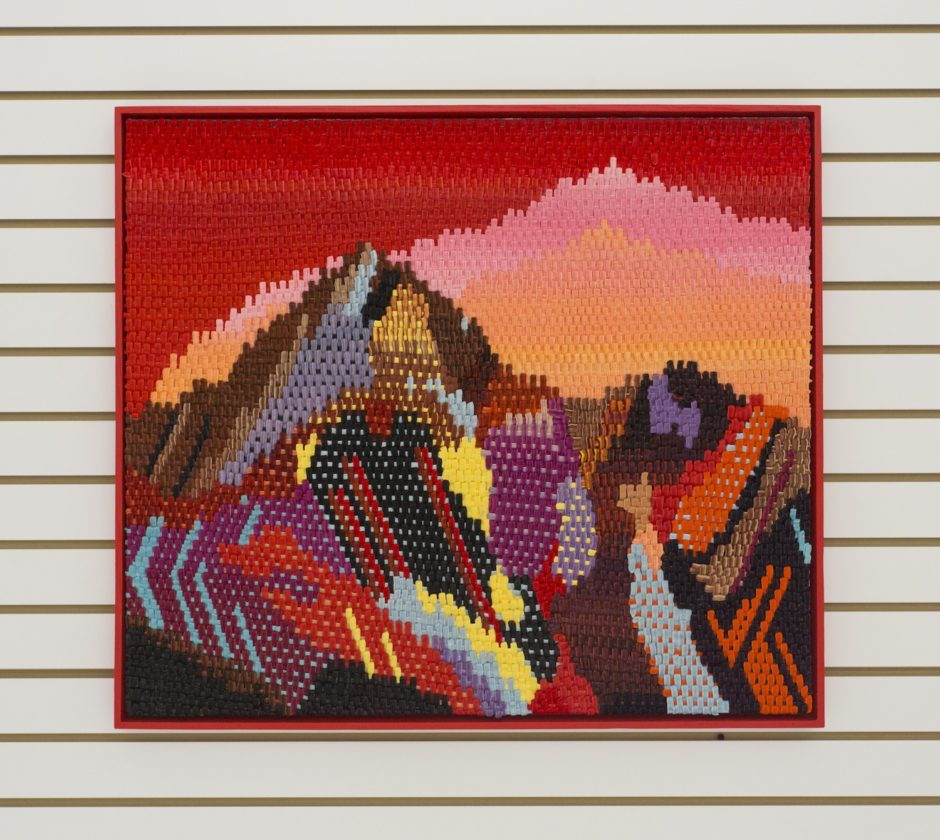 """Ruby Mountain"", 2016, Oil on canvas over board, 28.25 x 32.25 inches / 71.8 x 81.9 cm"