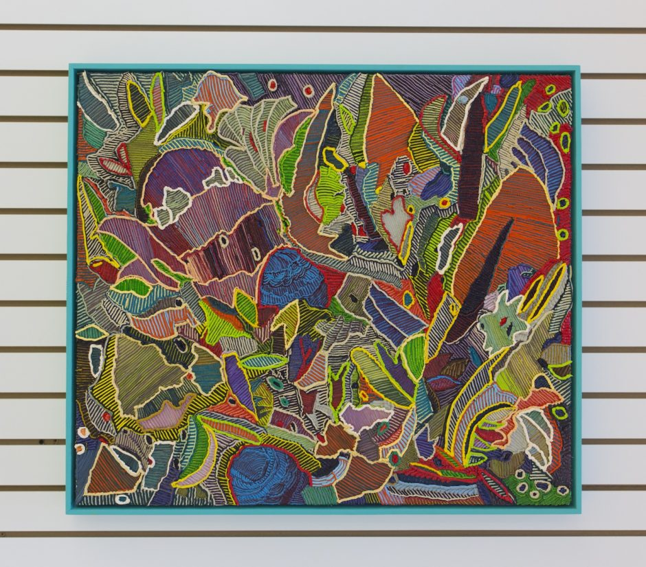 """West Botanical Garden"", 2016, Oil on canvas over board, 28.25 x 32.25 inches / 71.8 x 81.9 cm"