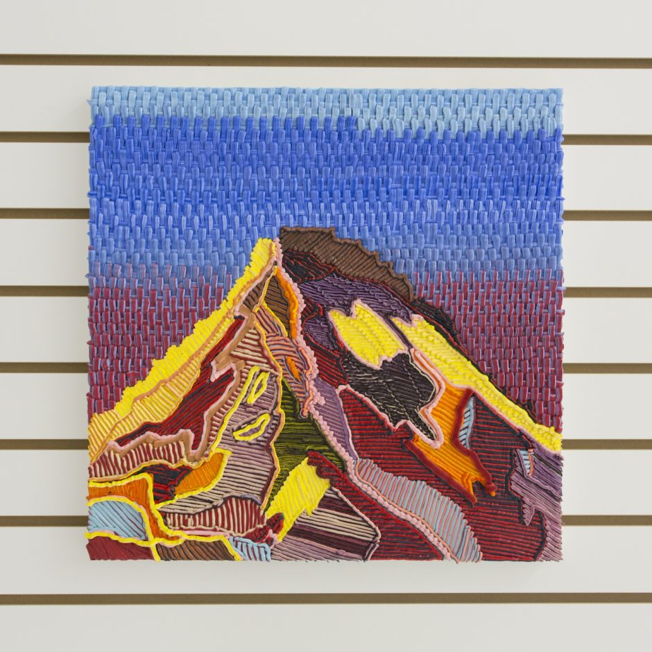 """Weave Mountain"", 2016, Oil on canvas over board, 18 x 18 inches / 45.7 x 45.7 cm"