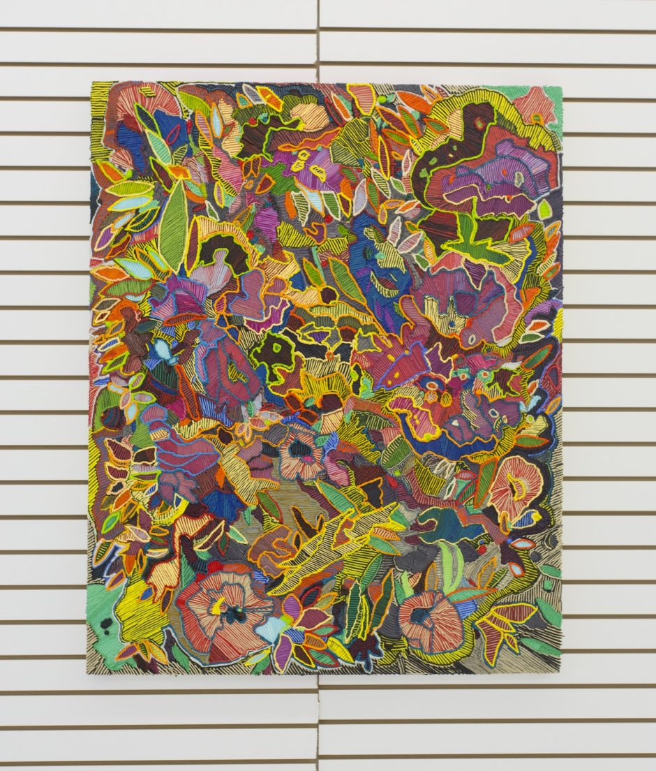 """Flower Power"", 2016, Oil on canvas over board, 50 x 40 inches / 127 x 101.6 cm"