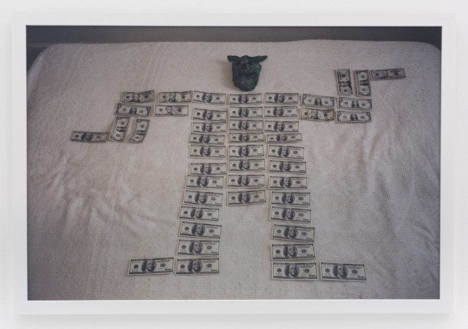 "Andrew Jeffrey Wright, ""Death masks and money"", 2007, digital c-print, 24 x 36 inches"