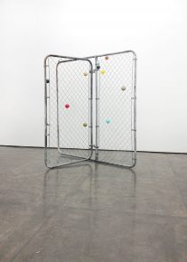 """Untitled (Constellation No. 5)"", 2014, Chain link gate and balls, 72 x 72 x 36 in"