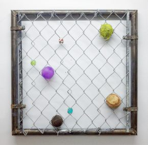 """Hemlock Trail"", 2015, Chain link gate and balls, 24 x 24 x 2 in"
