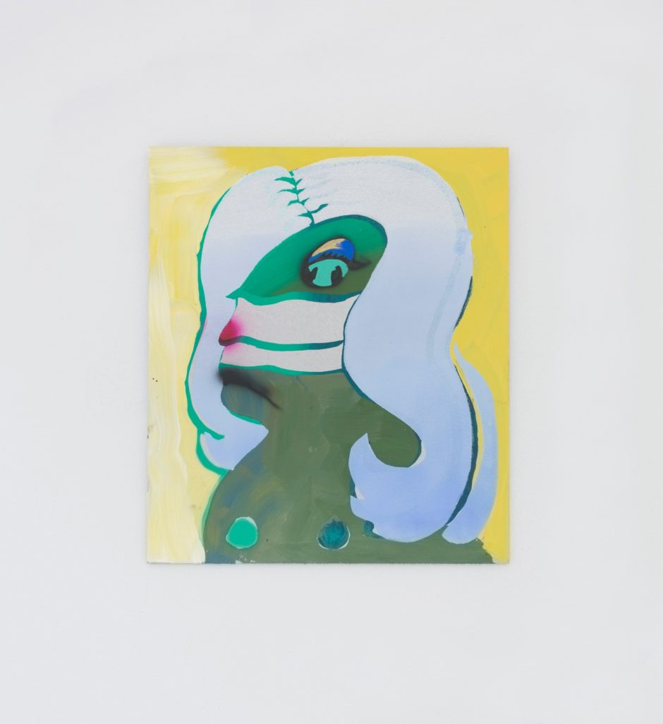 "Melissa Brown, ""Matriarch"", 2016, Flashe, acrylic, screen-print, oil on aluminum, 15 x 13 inches"