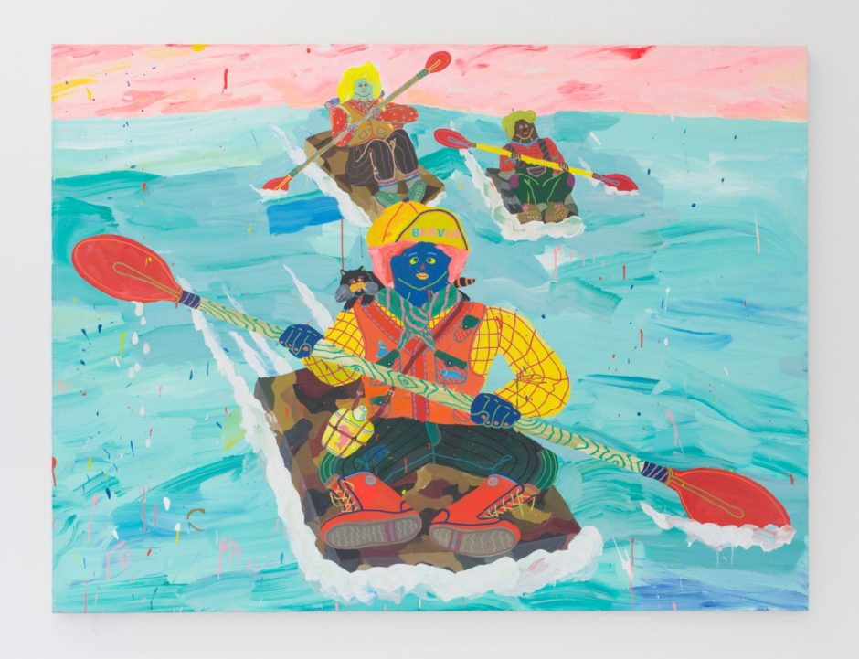"Misaki Kawai, ""Water Gang"", 2008, Acrylic and mixed media on canvas, 60 x 80 inches"