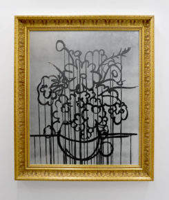 mixed media, mirror, still life, flowers, black and white, drip painting