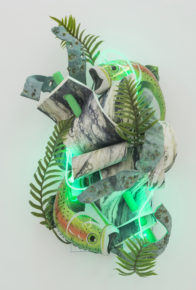 sculpture, neon green, mixed media, flora, fish, bright colors