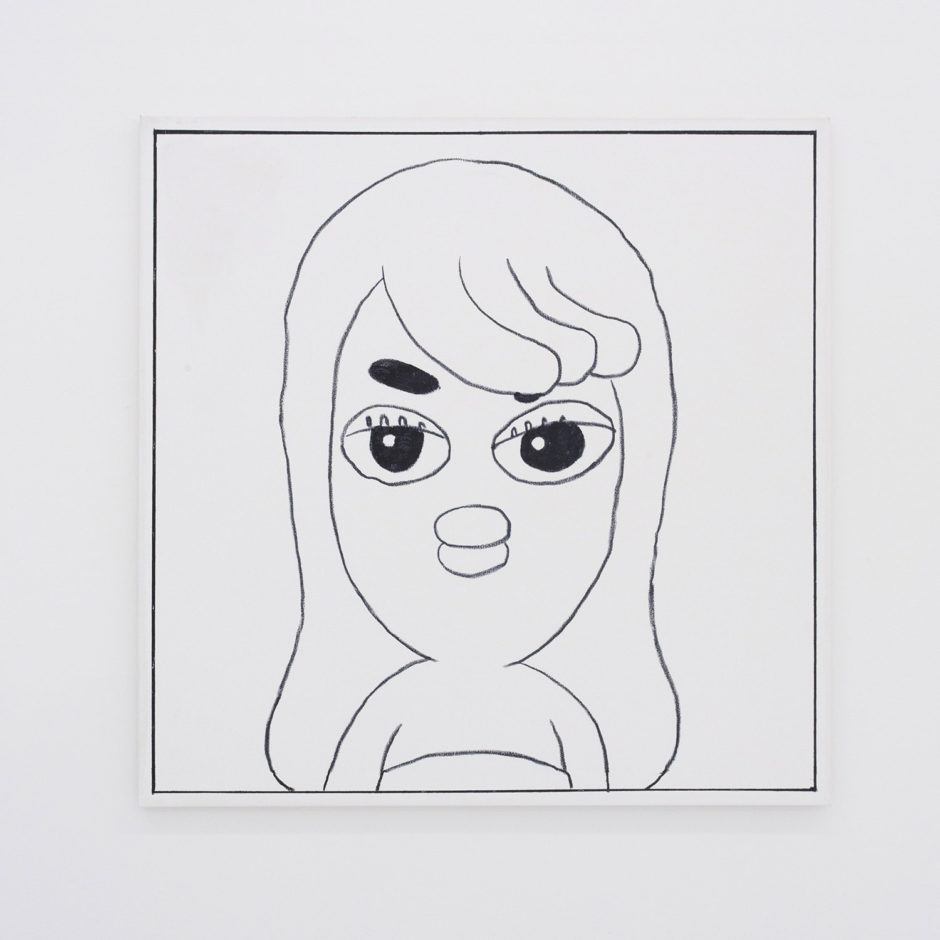 "Ben Jones, ""Ben Jones Comics Panel #29 (Lady Bird)"", 2016, oil stick on canvas, 36 x 36 inches"