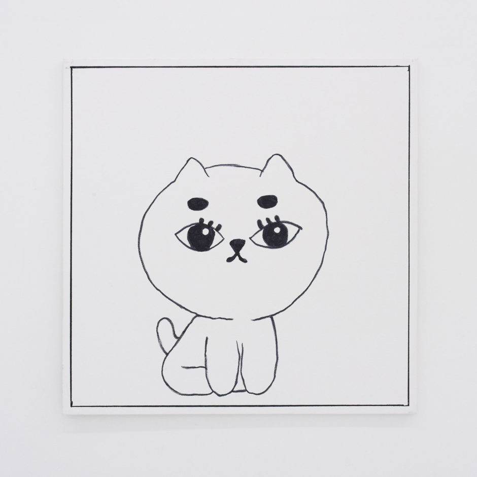 "Ben Jones, ""Ben Jones Comics Panel #30 (Cat)"", 2016, oil stick on canvas, 36 x 36 inches"