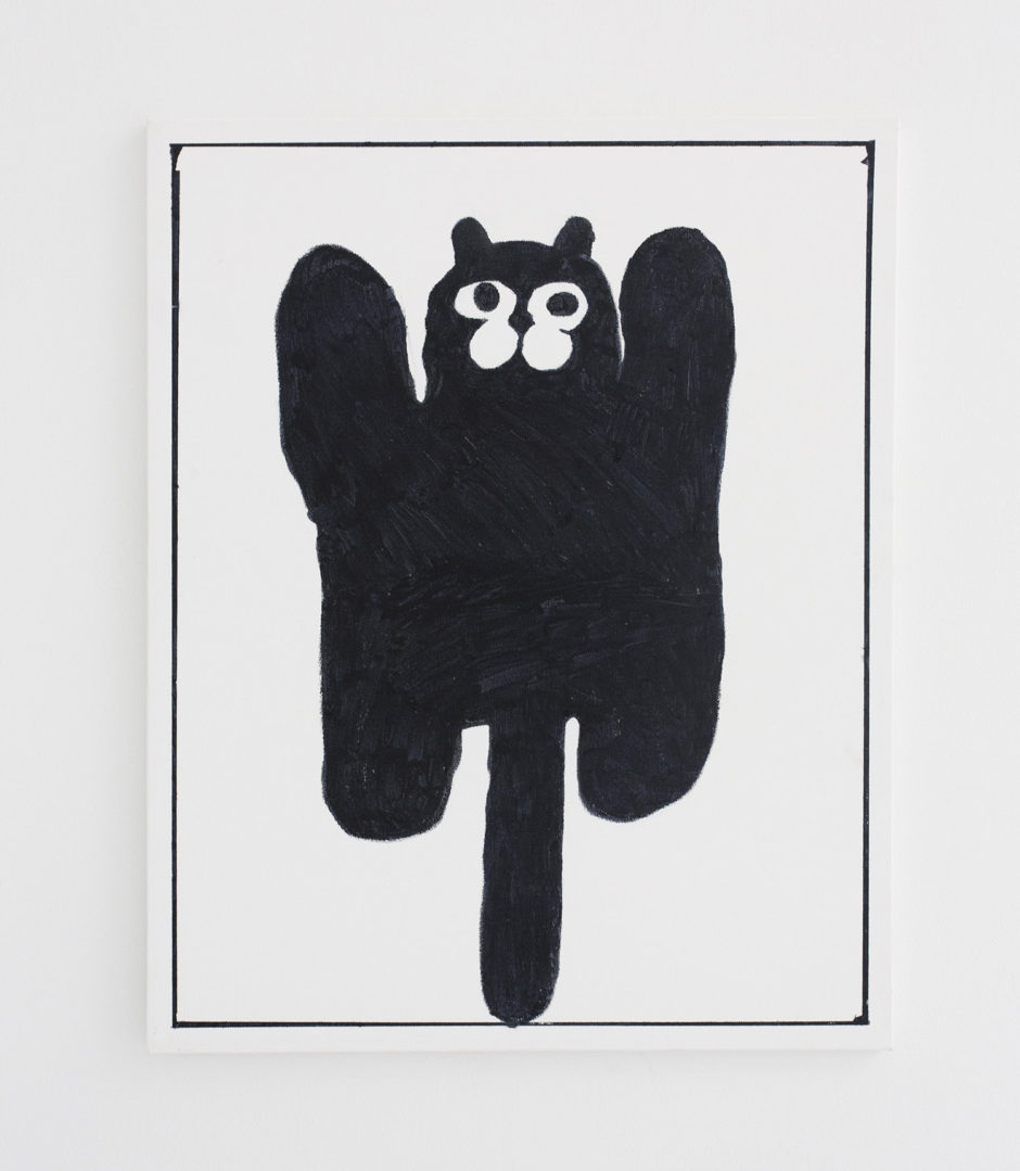 "Ben Jones, ""Ben Jones Comcis Panel #33 (Black Cat)"", 2016, oil stick on canvas, 30 x 24 inches"