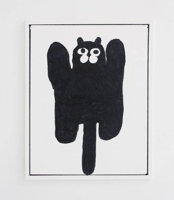 Ben Jones, comic, oil on canvas, black and white, minimalist, naive, humor, black cat