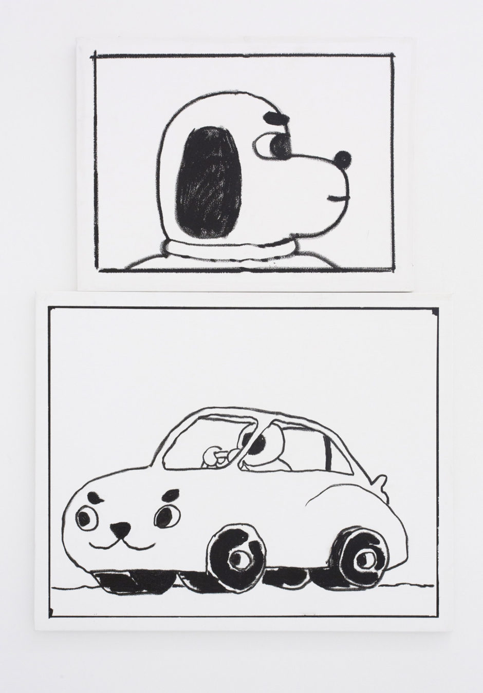"(top) ""Ben Jones Comics Panel #34 (Dog Profile)"", 2016, oil stick on canvas, 18 x 24 inches, 45.5 x 61 cm; (bottom) ""Ben Jones Comics Panel #28 (Car)"", 2016, oil stick on canvas, 24 x 30 inches, 61 x 76 cm"