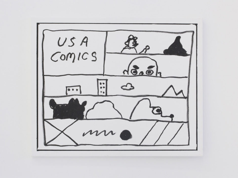 "Ben Jones, ""Ben Jones Comics Panel #36 (USA Comics)"", 2016, oil stick on canvas, 24 x 30 inches"