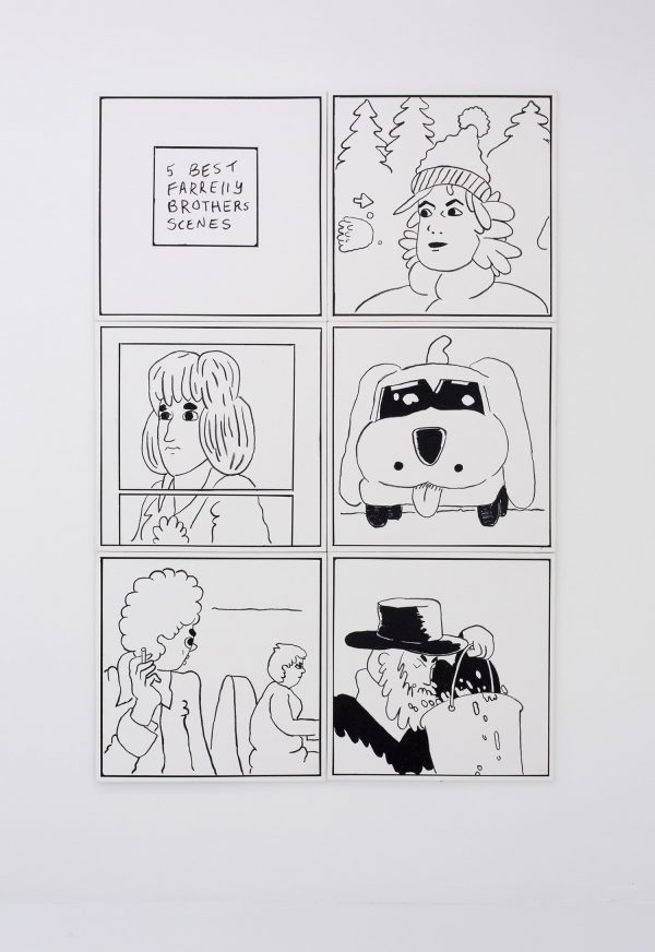 Ben Jones, comic, oil on canvas, black and white, minimalist, naive, humor