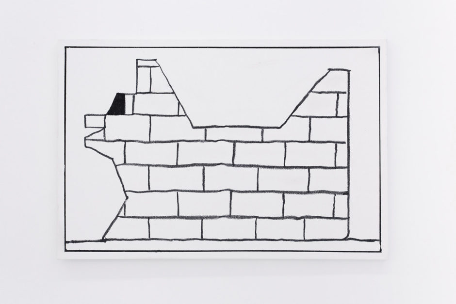 "Ben Jones, ""Ben Jones Comics Panel #27 (Brick Dog)"", 2016, oil stick on canvas, 24 x 36 inches"