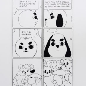 comic, black and white, oil, canvas, painting, animals