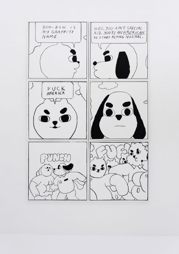 Ben Jones, comic, oil on canvas, black and white, minimalist, naive, animals