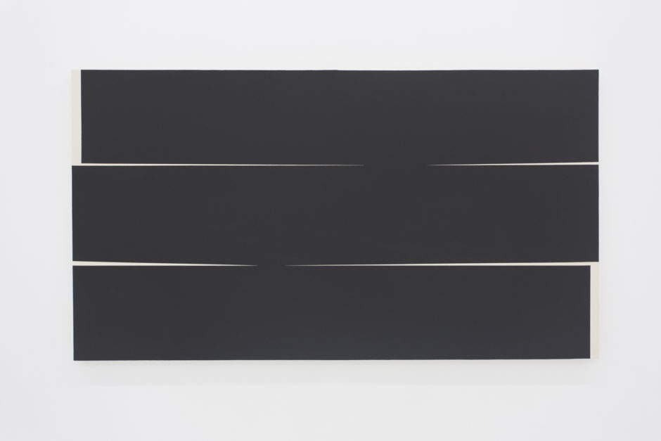 """Untitled iii"", 2016, gesso on canvas, 44 x 80 inches"