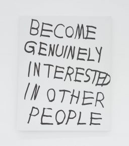 """""""Become Genuinely Interested In Other People"""", 2016, Ink on canvas, 20 x 16 inches"""