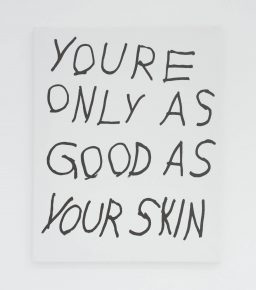 """""""Youre Only As Good As Your Skin"""", 2016, Ink on canvas, 20 x 16 inches"""