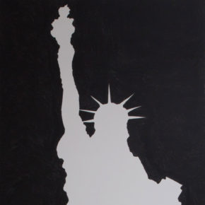 JIM JOE, ink on canvas, black and white, statue of liberty, cultural commentary
