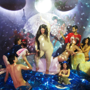 Self-portrait as stripper in Birth on Venus by William Adolphe Bouguereau / Disco image by anonymous, 2012