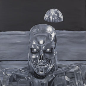 KATSU, painting, oil on canvas, black and white, robot, selfie, feng shui, moon