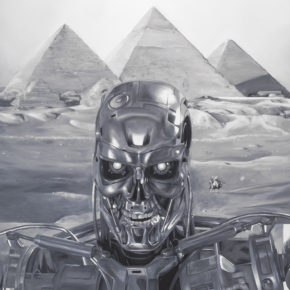 KATSU, painting, oil on canvas, black and white, robot, feng shui, selfie, pyramids, humor