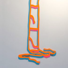 neon, mixed media, ladder