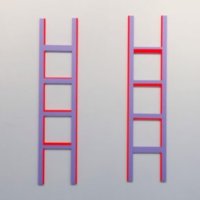 mixed media, neon, bright colors, ladder, geometric