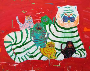 """""""Tiger Family"""", 2008, acrylic, Fabric and Paper on Canvas 48 × 60 in, 122 × 152.5 cm"""