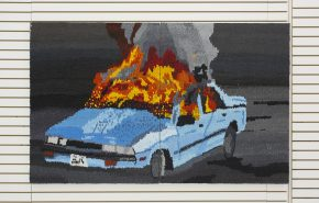 painting, oil on canvas, impasto, fire, car, vivid colors