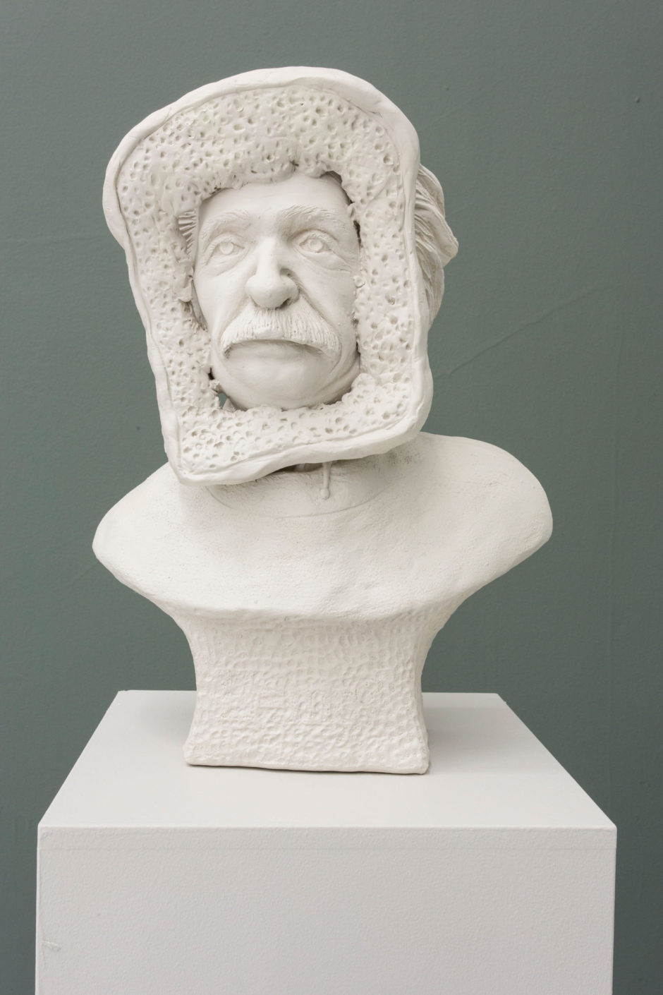 Theo Rosenblum, Chelsea Seltzer wall sculpture, clay sculpture, food sculpture, humor