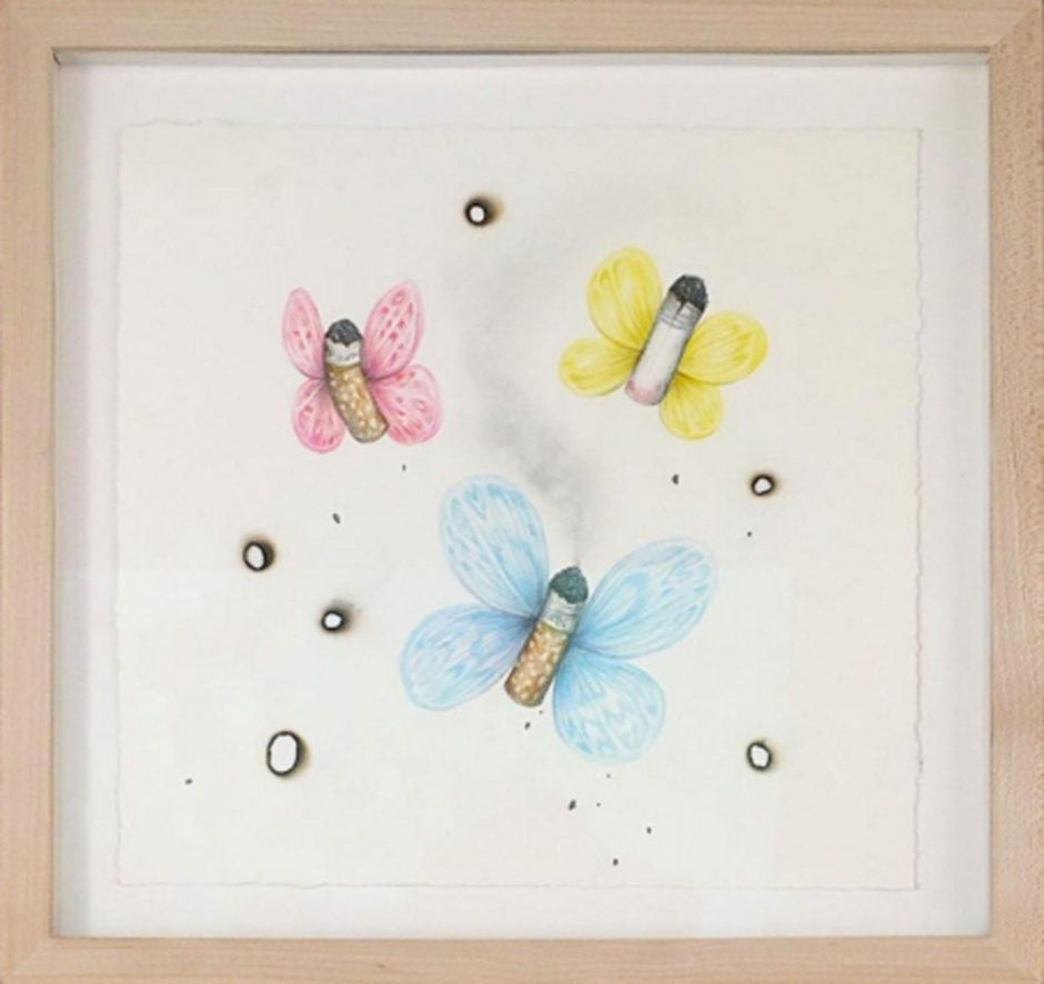 "Aurel Schmidt, ""Crap Butterflies (Blue Pink Yellow)"", 2011, graphite and colored pencil on paper with burns, 11 x 11 inches, 28 x 28 cm"