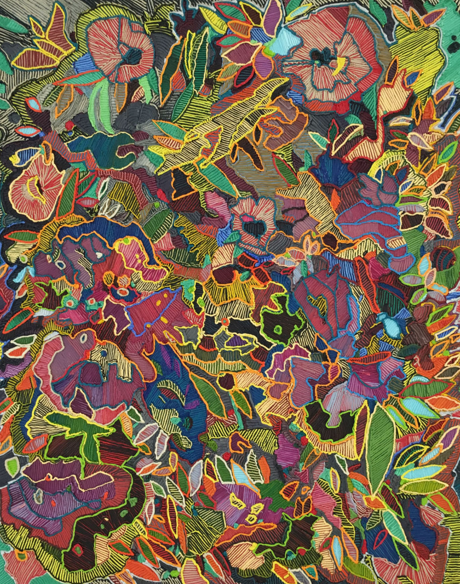 "Caroline Larsen, ""Flower Power"", 2016, oil on canvas over board, 50 x 40 inches, 124 x 101.5 cm"