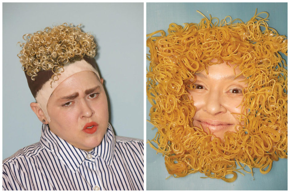 "Jaimie Warren, ""Self-Portrait as Justin Timberlake and Self-Portrait as Ramen Noodles by benhuh"", 2016, chromogenic prints, 24 x 20 inches, 61 x 51 cm each"