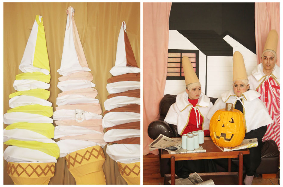 "Jaimie Warren, ""Self-Portrait as an Ice-Cream Conehead in Those 3 ice-creams Totally Looks Like the Cone-heads from SNL by anonnny"", 2016, chromogenic prints, 24 x 20 inches, 61 x 51 cm"