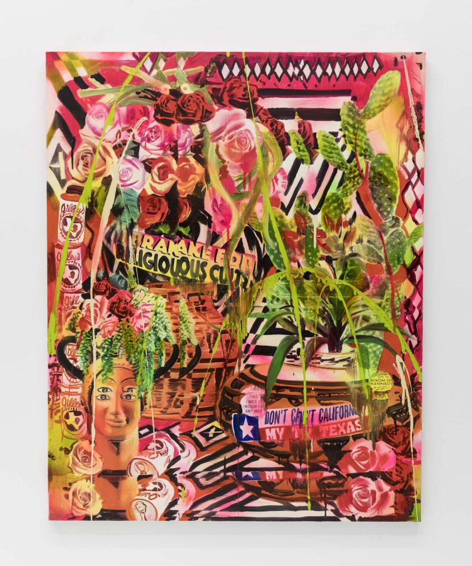 "Rosson Crow, ""Don't California My Texas"", 2017, acrylic, spray paint, photo transfer and oil on canvas, 60 x 48 inches, 152.5 x 122 cm"