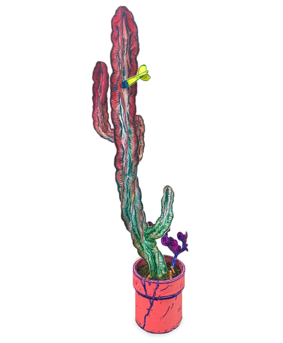 "Taylor McKimens, ""Cactus"", 2017, wood, paper, wire, glue and paint, 63 x 24 x 16 inches, 160 x 61 x 41 cm"